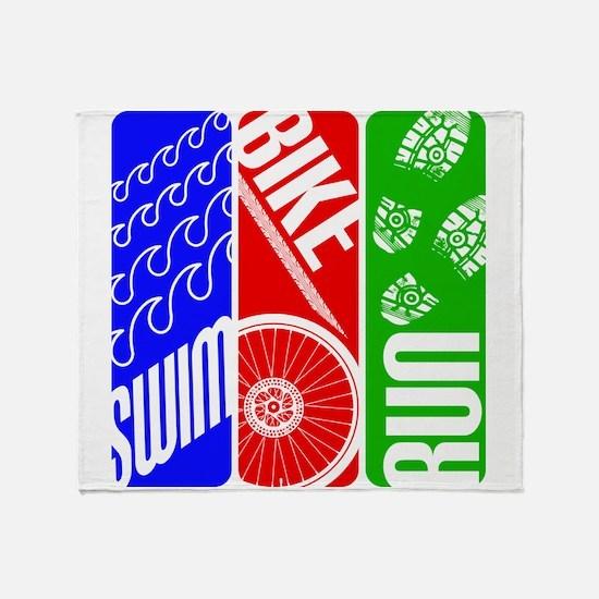 Triathlon TRI Swim Bike Run Throw Blanket