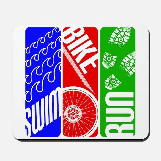 Triathlon TRI Swim Bike Run Mousepad