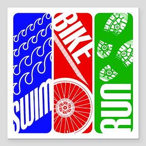 "Triathlon TRI Swim Bike Run Square Car Magnet 3"" x"