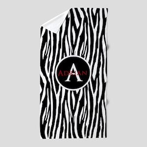 Custom Monogram Zebra Pattern Animal Print Beach T