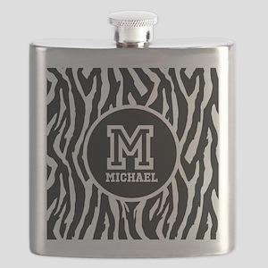 Zebra Animal Print Personalized Monogram Flask