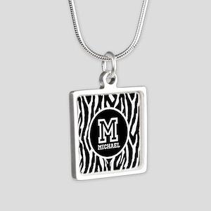 Zebra Animal Print Personalized Monogram Silver Sq
