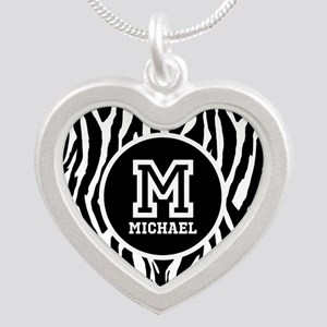 Zebra Animal Print Personalized Monogram Silver He
