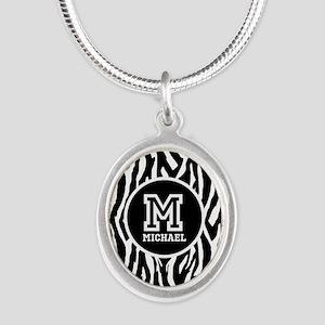 Zebra Animal Print Personalized Monogram Silver Ov