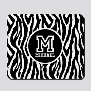 Zebra Animal Print Personalized Monogram Mousepad