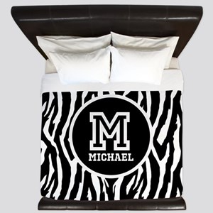 Zebra Animal Print Personalized Monogram King Duve