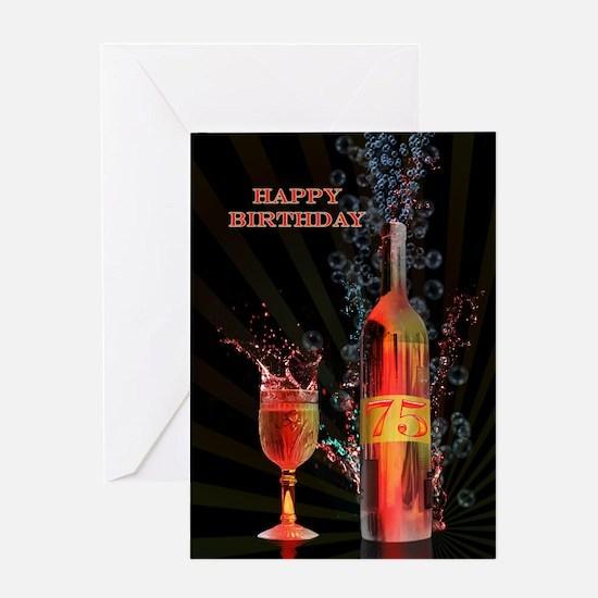 75th birthday card splashing wine Greeting Cards