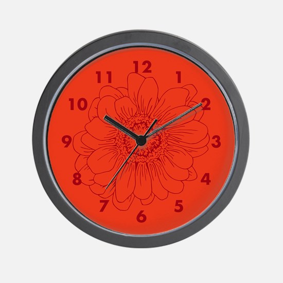Coral Red Daisy flower Wall Clock