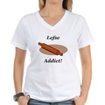 Lefse Addict Women's V-Neck T-Shirt