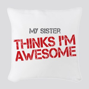 Sister Awesome Woven Throw Pillow