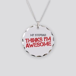 Stepdad Awesome Necklace Circle Charm
