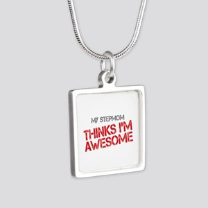Stepmom Awesome Silver Square Necklace