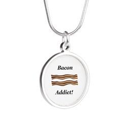 Bacon Addict Silver Round Necklace