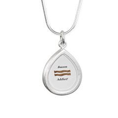 Bacon Addict Silver Teardrop Necklace