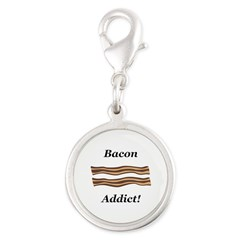 Bacon Addict Silver Round Charm