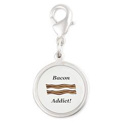 Bacon Addict Silver Round Charm