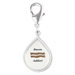 Bacon Addict Silver Teardrop Charm