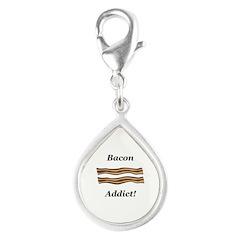 Bacon Addict Silver Teardrop Charm