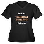 Bacon Addict Women's Plus Size V-Neck Dark T-Shirt