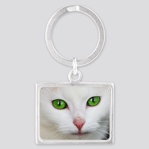 White Cat Landscape Keychain