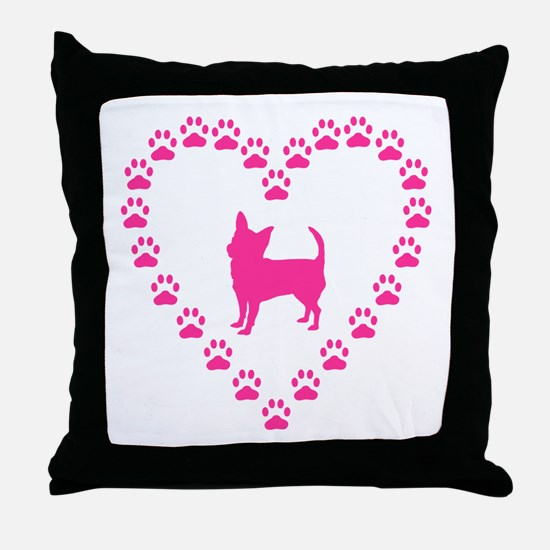 Hot Pink Chihuahua Throw Pillow