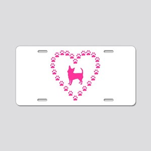 Hot Pink Chihuahua Aluminum License Plate