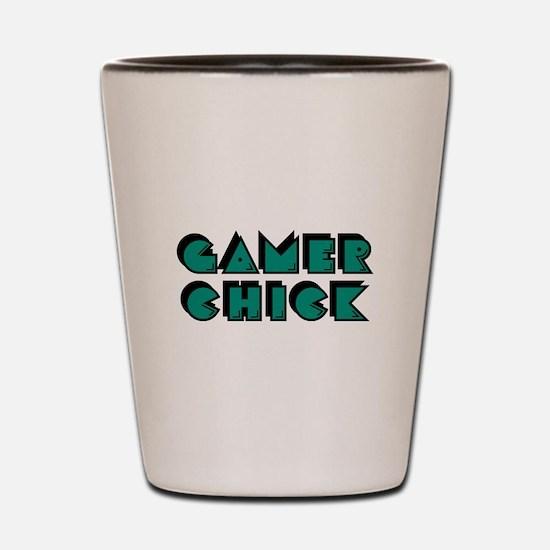Gamer Chick Teal Shot Glass
