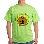 Halloween Black Cat Green T-Shirt