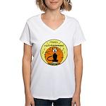 Halloween Black Cat Women's V-Neck T-Shirt