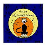 Halloween Black Cat Tile Coaster