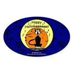 Halloween Black Cat Oval Sticker