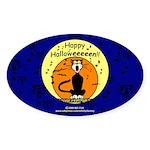 Halloween Black Cat Oval Sticker (10 pk)