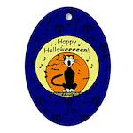 Halloween Black Cat Oval Ornament