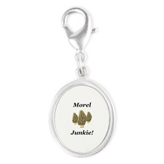 Morel Junkie Silver Oval Charm