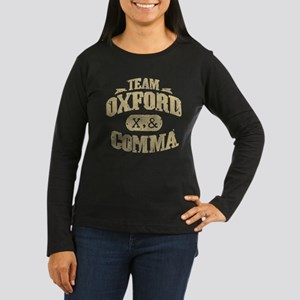 Team Oxford Comma Women's Long Sleeve Dark T-Shirt