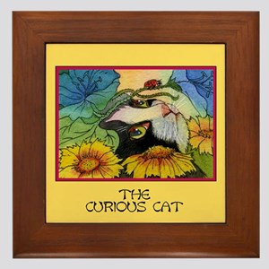 The Curious Cat Framed Tile