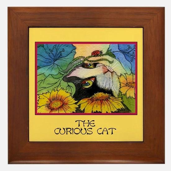 The Curious Cat Framed Tile