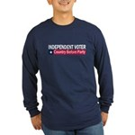 Independent Voter Blue Red Long Sleeve Dark T-Shir