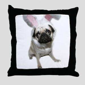Easter Pug Throw Pillow
