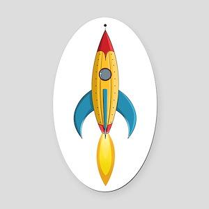 Rocket Ship Oval Car Magnet