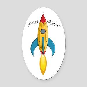 Blast Off! Rocket Ship Oval Car Magnet