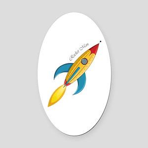 Rocket Man Rocket Ship Oval Car Magnet