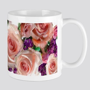 Pink Roses & purple flowers Mug