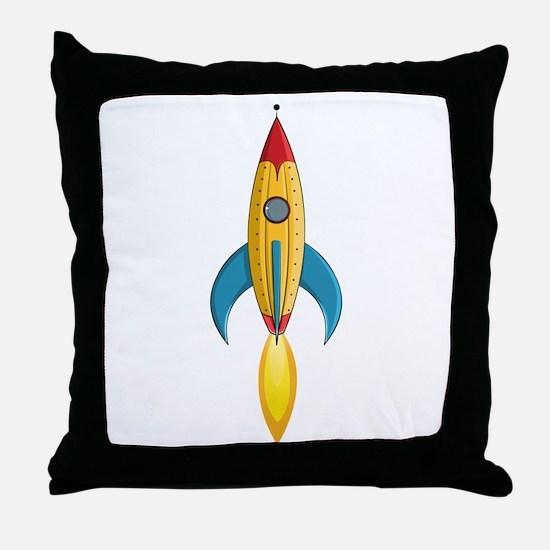 Rocket Ship Throw Pillow