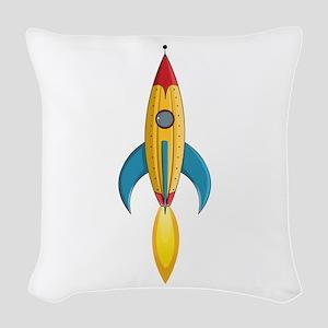 Rocket Ship Woven Throw Pillow