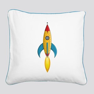 Rocket Ship Square Canvas Pillow
