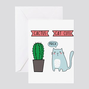Funny cat and cactus Greeting Cards