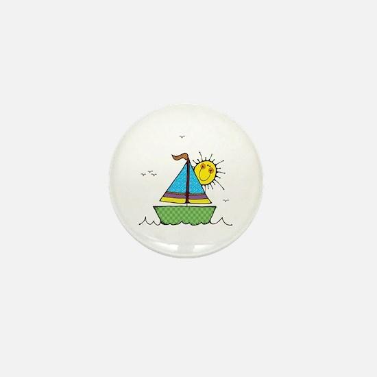 Cute Sail Boat and Sun Mini Button