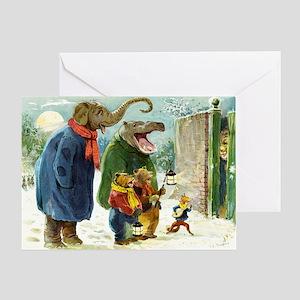 Christmas Caroling in Animal Land Greeting Card