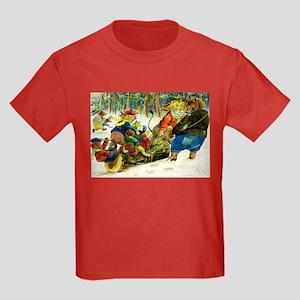 Christmas Yule Log in Animal Land Kids Dark T-Shir